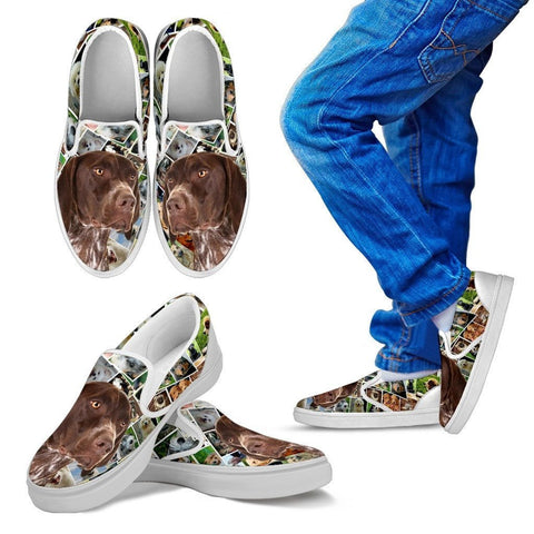 Amazing German Shorthaired Pointer Dog Print Slip Ons For KidsExpress Shipping
