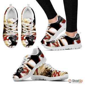 300 Movie Style Black Labrador Running Sneakers (Women)