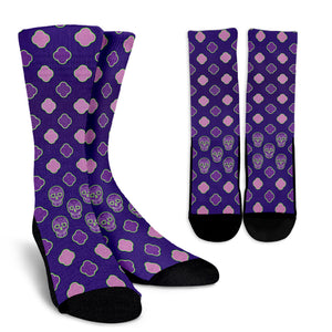 Hidden Skulls Pattern Purple Socks