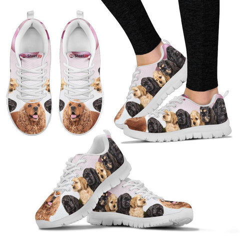 Image of Cocker Spaniel Pink White Print Running Shoes For Women