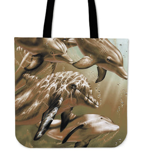 Sepia Dolphins Tote Bag