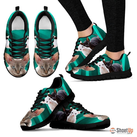 Cornish Rex Cat Print (Black/White) Running Shoes For Women