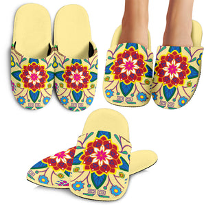 Geometric Floral Winter-Vanilla Slippers