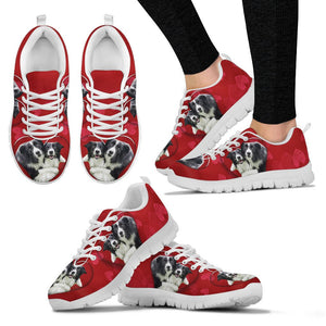Border Collie On Red Print Running Shoes For Women