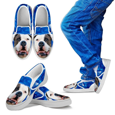 Image of American Bulldog Print Slip Ons For Kids Express Shipping