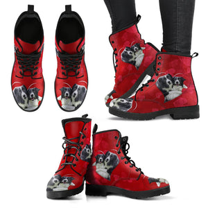 Border Collie On Red Print Boots For Women