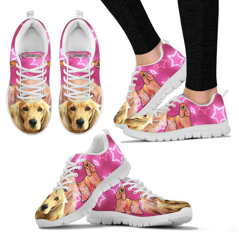 Cocker Spaniel On Pink Print Running Shoes For Women