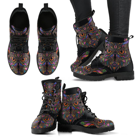 Colorful Owl Women's Leather Boots