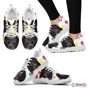 Curly Coated Retriever Dog (White/Black) Running Shoes For Women