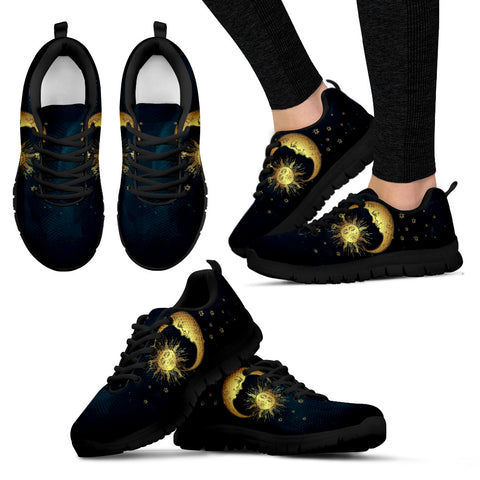 Moon and Sun Black Women's Sneakers