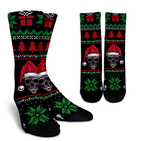 Ugly Christmas Santa Skull Socks