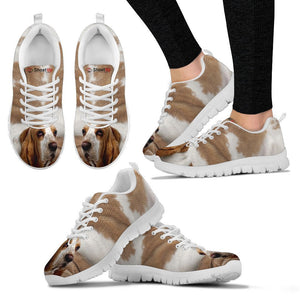 Basset Hound Brown White Print Running Shoes For Women