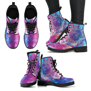 Colorful Sun Moon Women's Leather Boots
