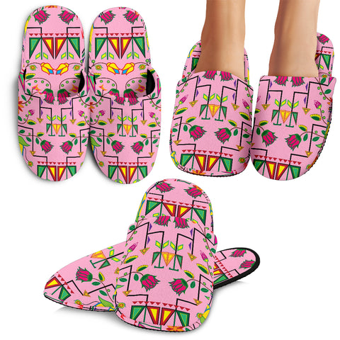 Geometric Floral Summer-Pink Slippers