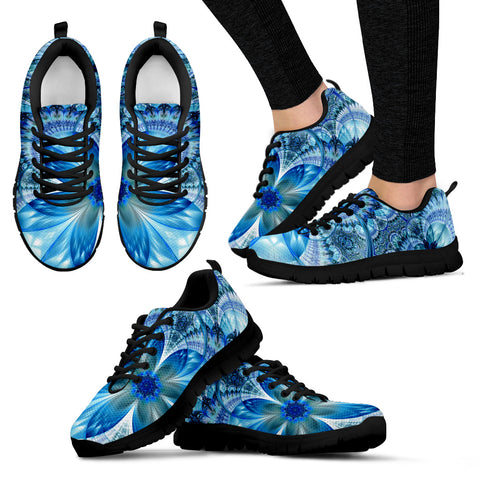 Flower Fractal Handcrafted Black Sole Sneakers