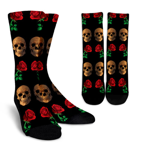 Roses and Skulls Socks for Skull Lovers
