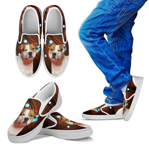 American Staffordshire Terrier Print Slip Ons For KidsExpress Shipping