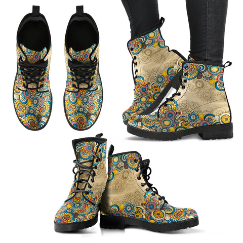 Colorful Mandalas Women's Leather Boots