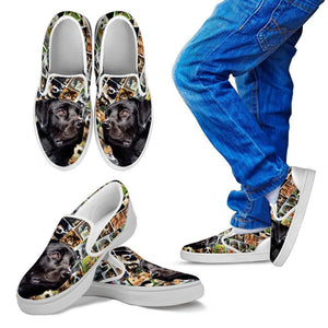 Amazing Black Labrador Print Slip Ons For KidsExpress Shipping