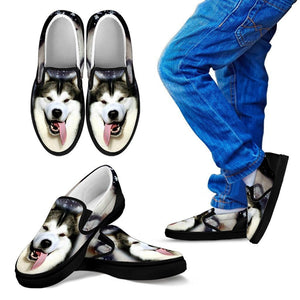 Alaskan Malamute Dog Print Slip Ons (Black) For Kids Express Shipping