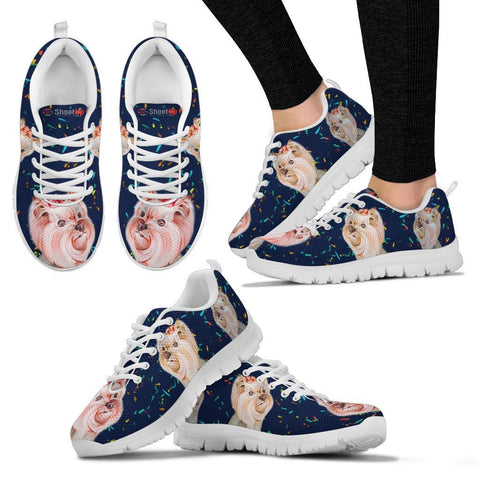 Cute Yorkshire Terrier blue Print Running Shoes For Women