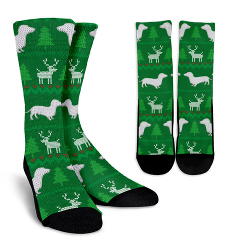 Ugly Christmas Sweater Socks With Dachshunds