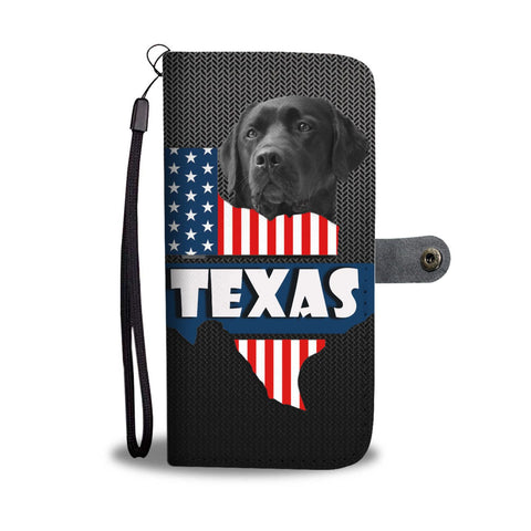 Amazing Black Labrador Retriever Dog Print Wallet CaseTX State