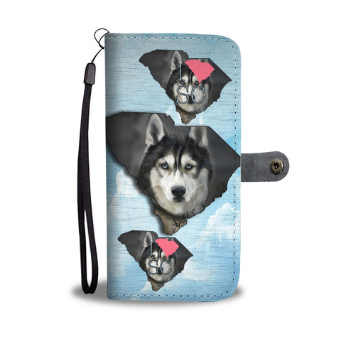 Amazing Siberian Husky Dog Print Wallet CaseSC State