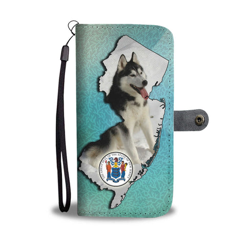Image of Amazing Siberian Husky Print Wallet CaseNJ State