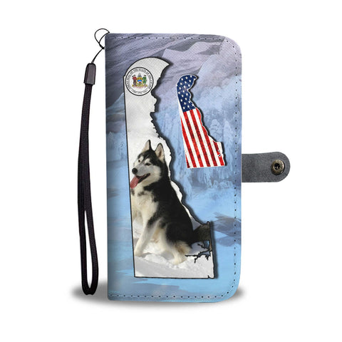 Amazing Siberian Husky Print Wallet CaseDE State
