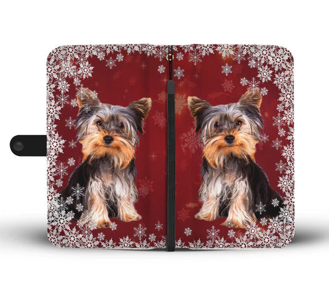 Cute Yorkshire Terrier Christmas Print Wallet Case