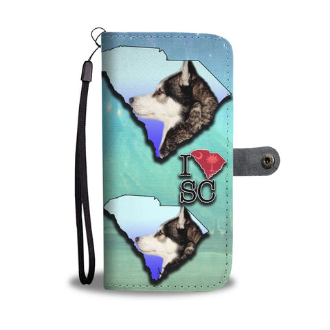Amazing Siberian Husky Print Wallet CaseSC State