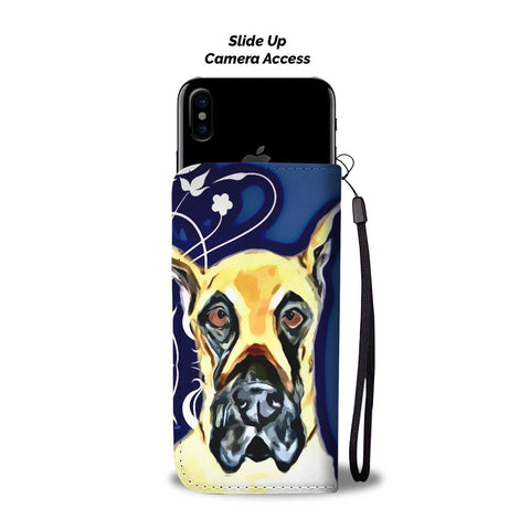 Image of Amazing Great Dane On Blue Print Wallet Case