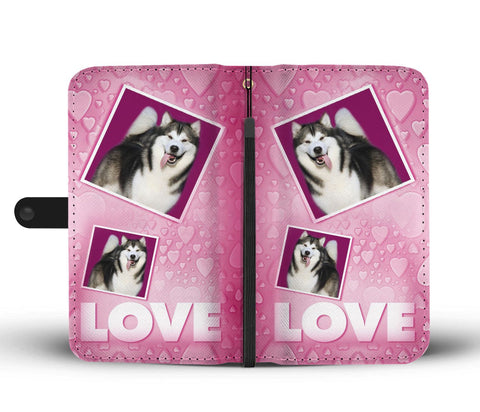 Alaskan Malamute dog with Love Print Wallet Case