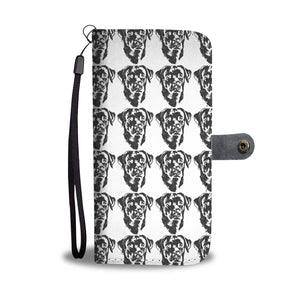 Amazing Labrador Retriever Dog Black&White Pattern Print Wallet Case