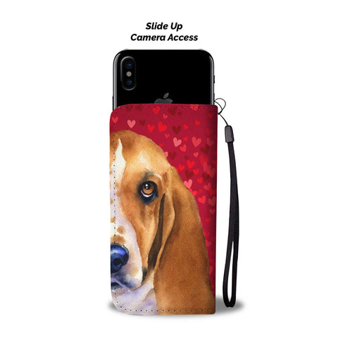 Image of Basset Hound Dog On Red Hearts Print Wallet Case