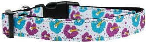 Blue And Purple Hibiscus Flower Nylon Dog Collar Medium