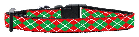 Image of Christmas Argyle Nylon Ribbon Collar Small