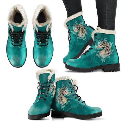 Unicorn Watercolor Fur Lined Leather Boots
