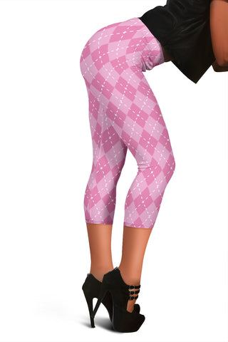 Image of Pink Argyle Women's Capris