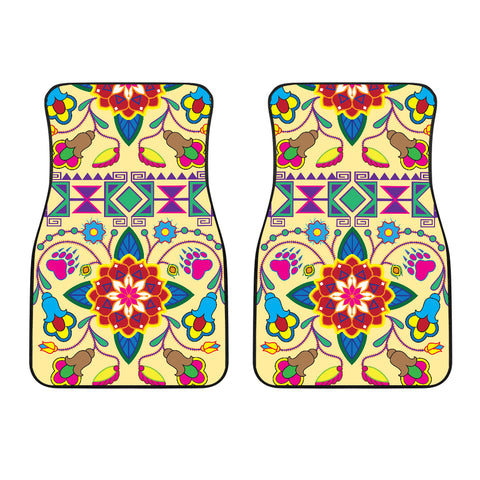 Image of Geometric Floral Winter-Vanilla Set of 2 Car Mats