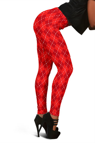 Red Argyle Womens Leggings