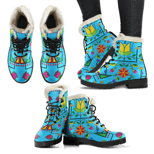 Geometric Floral Summer-Sky Blue Faux Fur Leather Boots