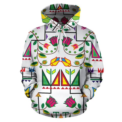 Image of Geometric Floral Summer-White Sokapi Hoodie