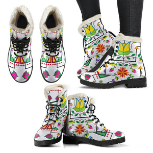 Geometric Floral Summer-White Faux Fur Leather Boots