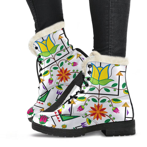 Image of Geometric Floral Summer-White Faux Fur Leather Boots