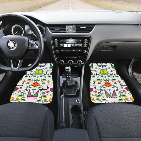 Image of Geometric Floral Summer-White Set of 4 Car Mats