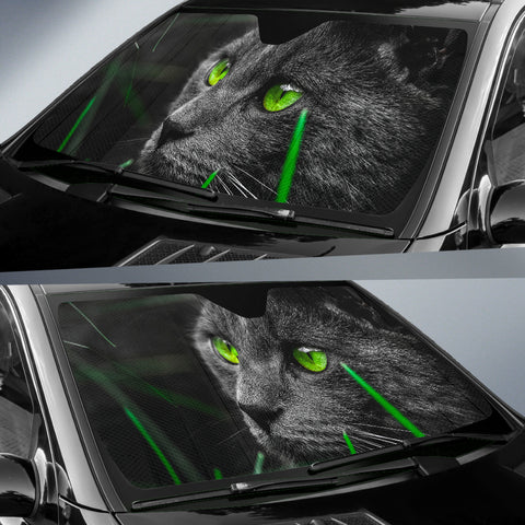 Image of Green eyed black cat Auto Sun Shade