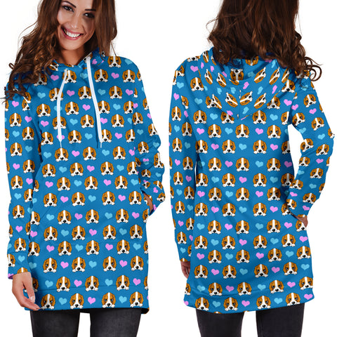 Dog Hearts Womens Hoodie Dress