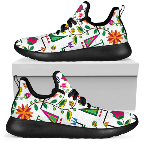 Geometric Floral Summer - White Mesh Knit Sneakers